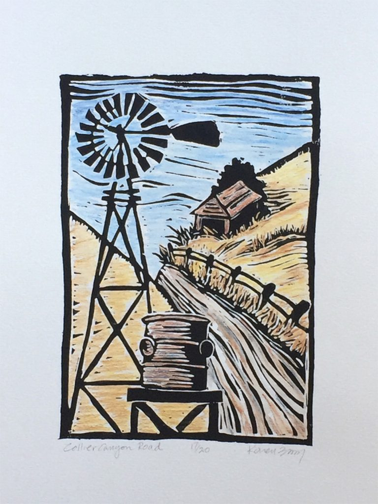 "Windmill on Collier Canyon - linocut & watercolor 6""x8"""