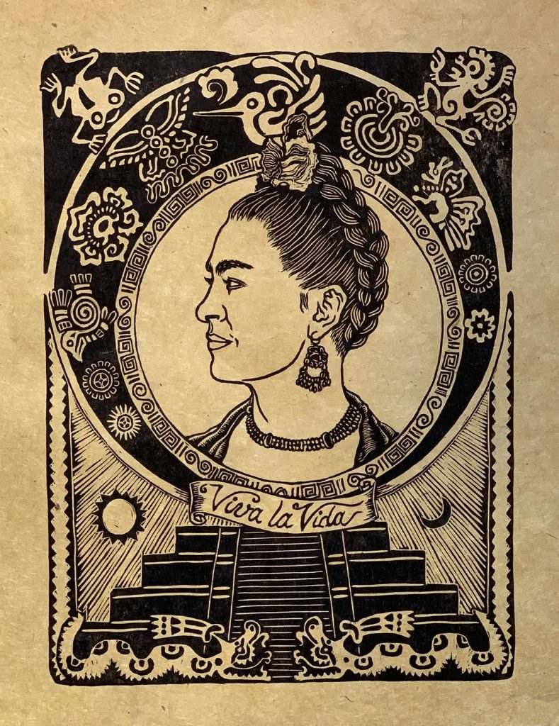 "Viva Frida - woodcut 12""x16"" (Lokta paper - Bright San)"