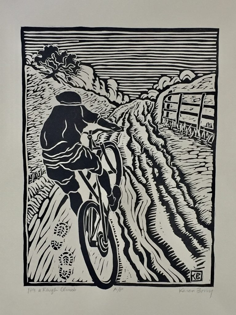 "Its A Rough Climb - linocut 8""x11"""