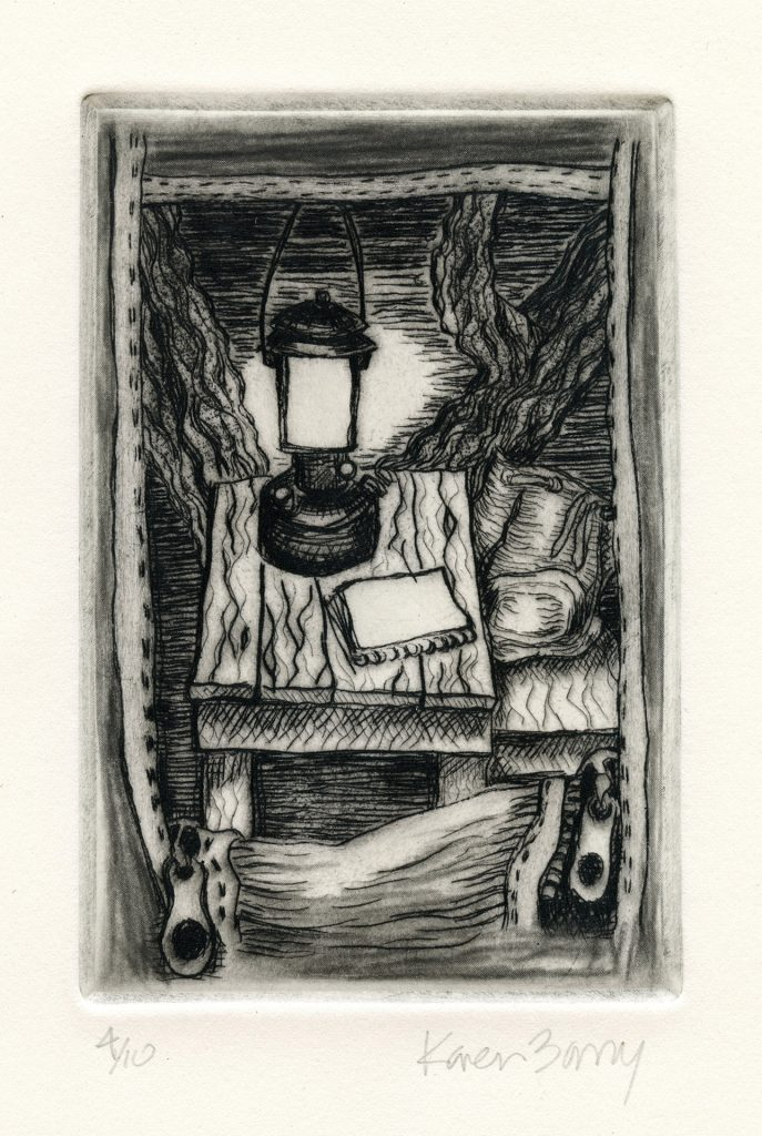 "Tent Window at Death Valley - drypoint 4""x6"" - $75"