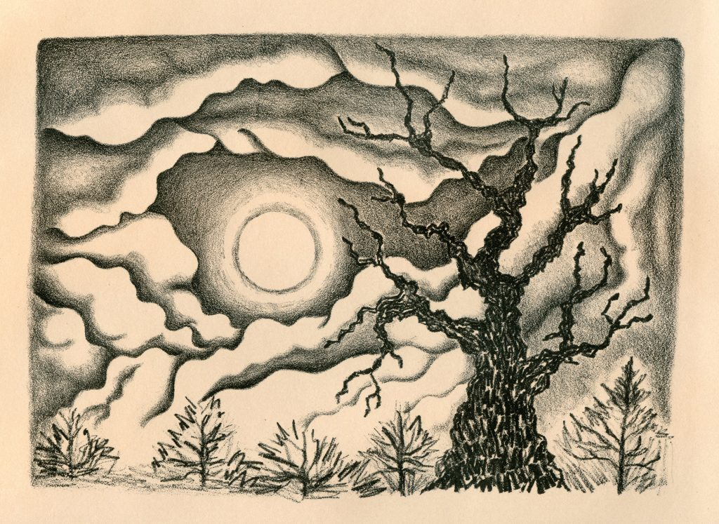 "Moon Gaze - stone lithograph 7""x5"""