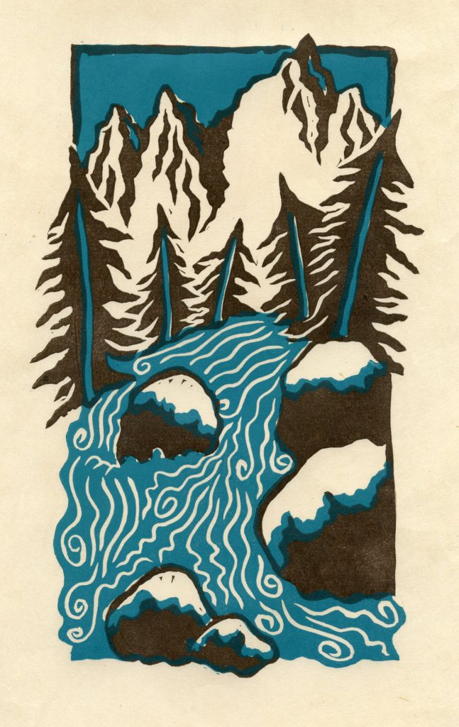 "Mt Whitney Stream - 2 color linocut 6""x9"""