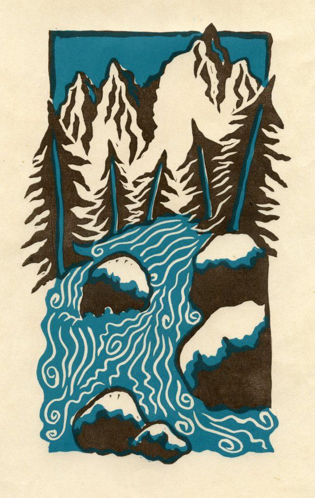 "Mt Whitney Stream - 2 color linocut 6""x9"""