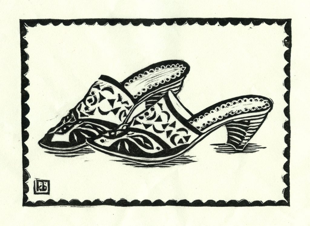 "Orange Shoes - woodcut 7""x5"""