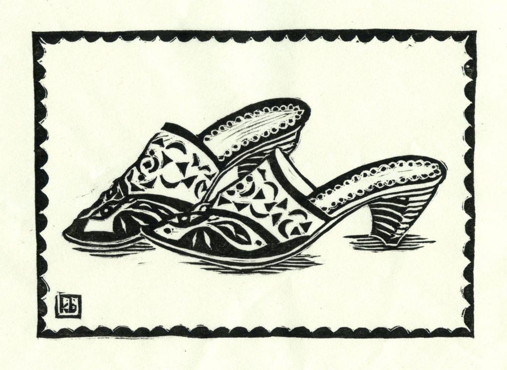 """Orange Shoes - woodcut 7""""x5"""""""