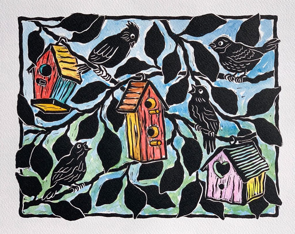 "Our Neighborhood - linocut & watercolor 12""x9"""