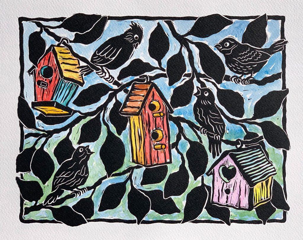 "Our Neighborhood - linocut & watercolor 12""x9"""