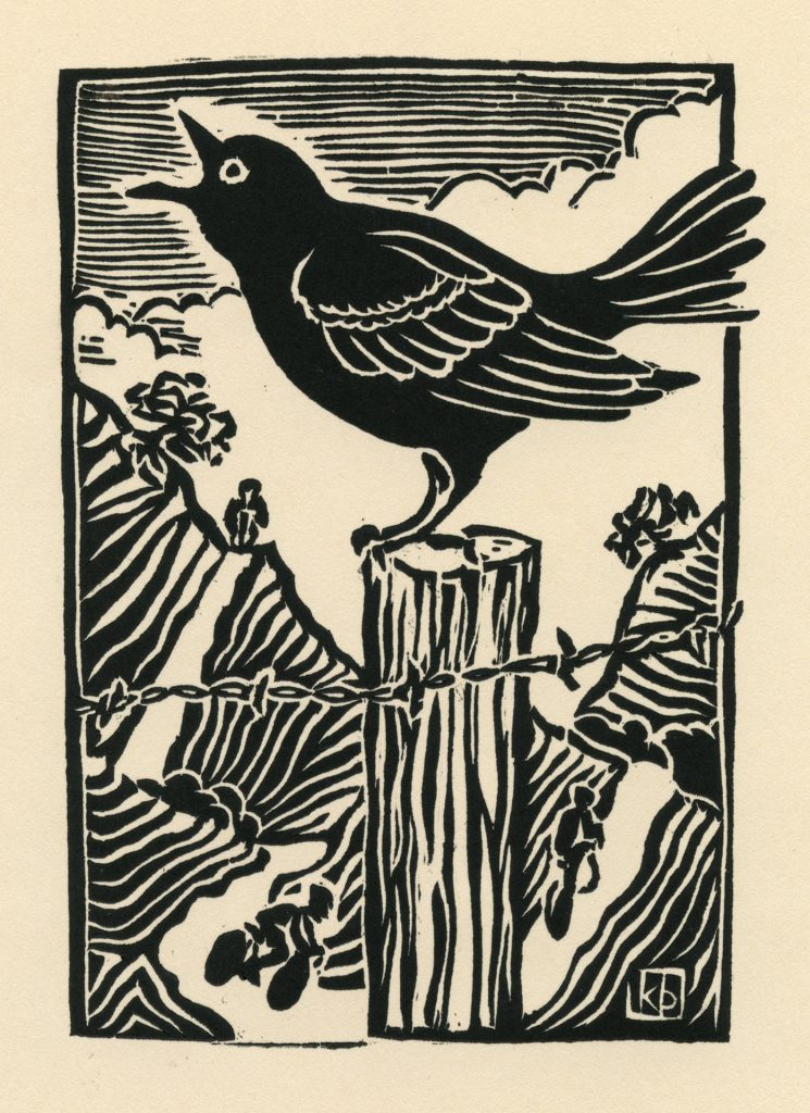 """Passing By - woodcut 4""""x6"""""""
