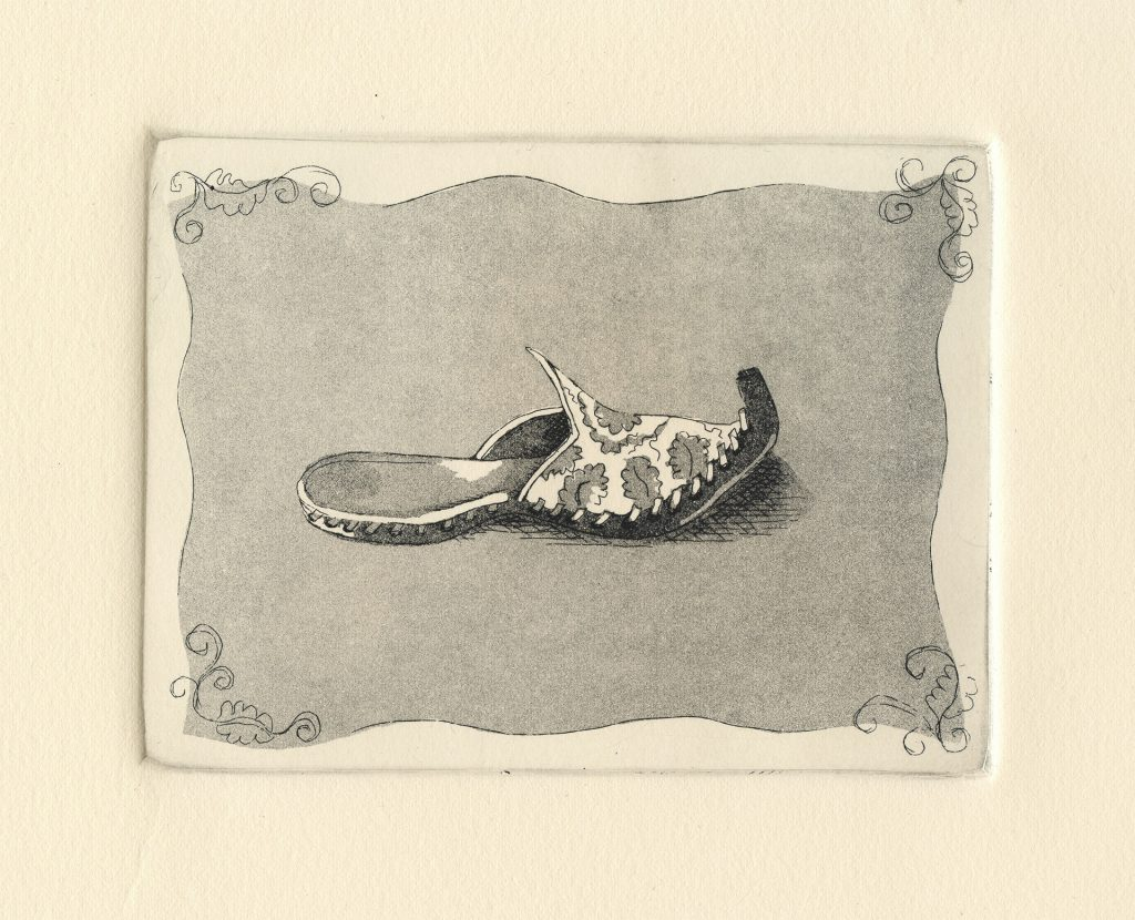 "Persian Slipper - aquatint 6""x4.5"" - $75"
