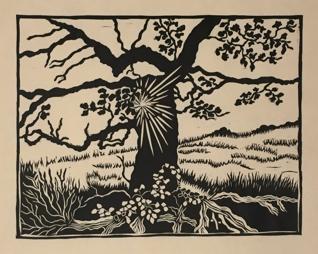 "Pleasanton Ridge Tree - linocut 12""x9"""