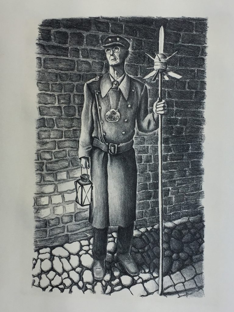 "Night Watchman at Ribe, Denmark - lithograph 10""x16"""