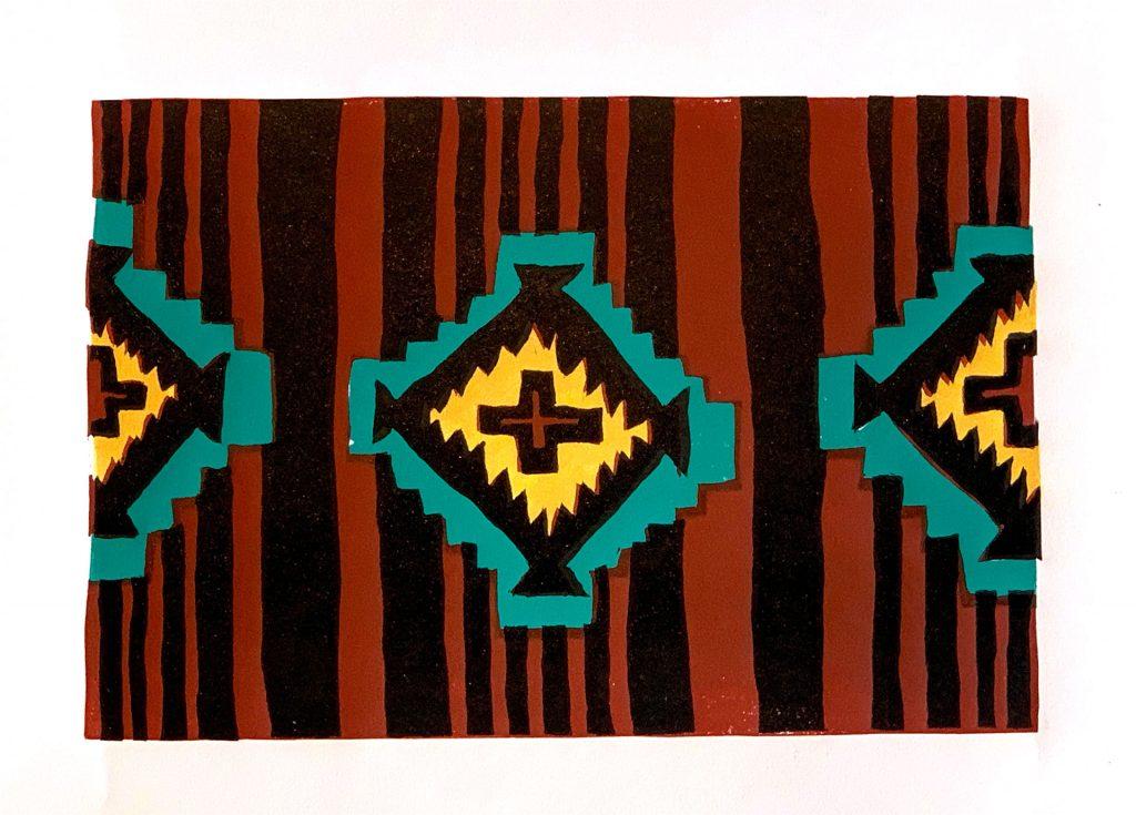 """Rug Series No. 1 - 4 color linocut 11"""" x 7"""""""