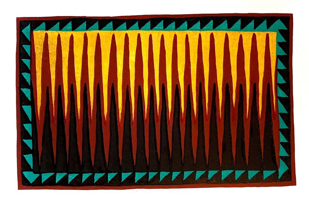"""Rug Series No. 3 - 4 color linocut 16"""" x 10"""""""