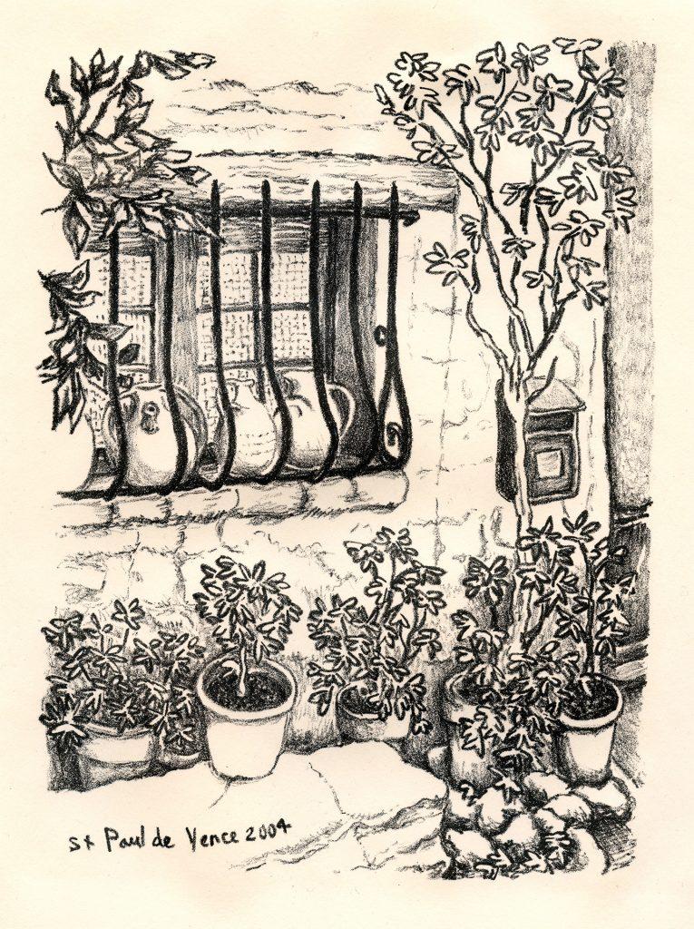 """St Paul de Vence - stone lithograph 6""""x8"""""""
