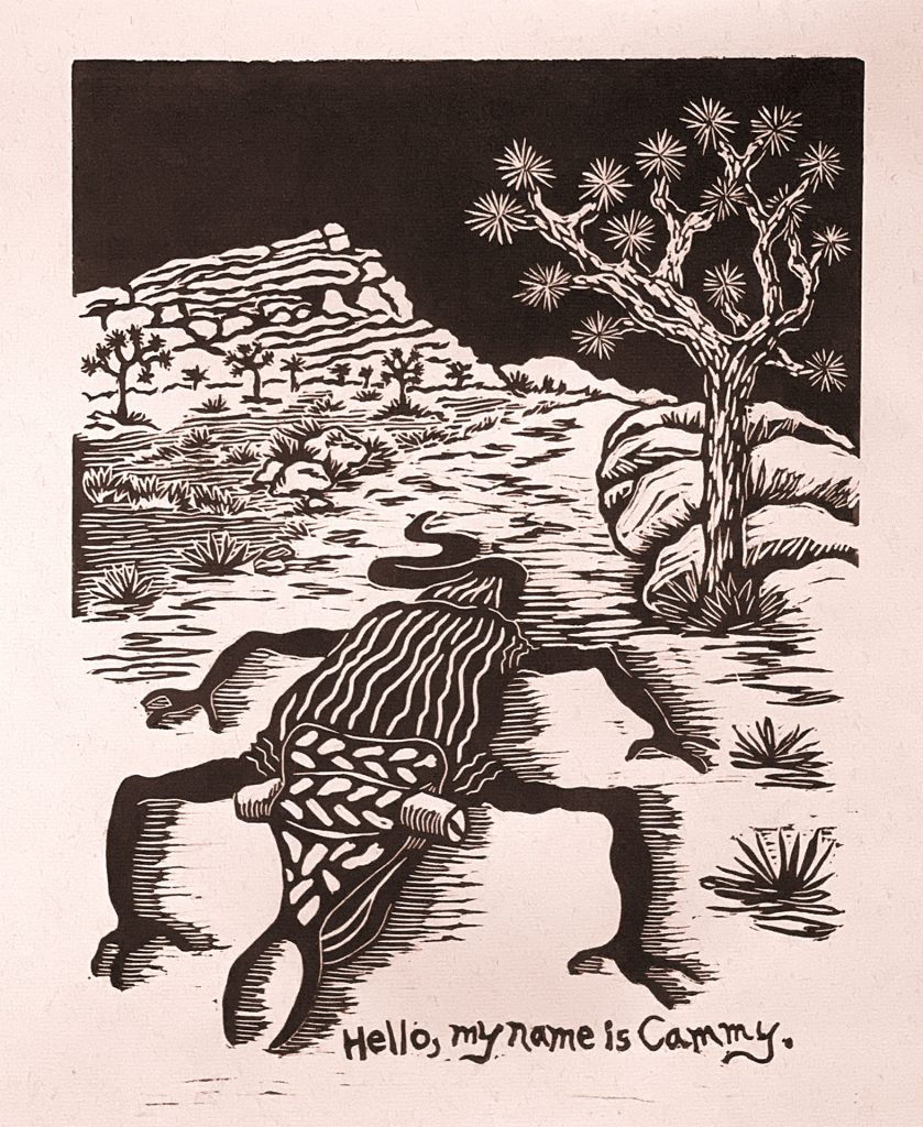 "Cammy in the Desert - linocut 12""x9"""
