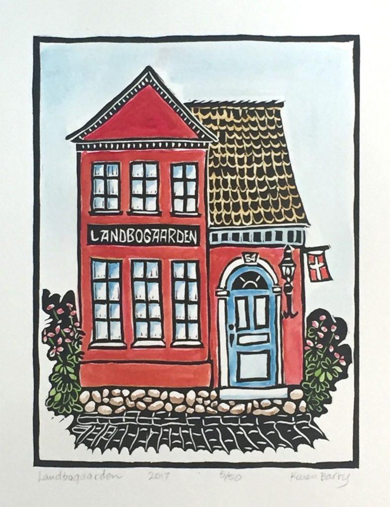 "Landbogaarden - linocut & watercolor 6""x8"""