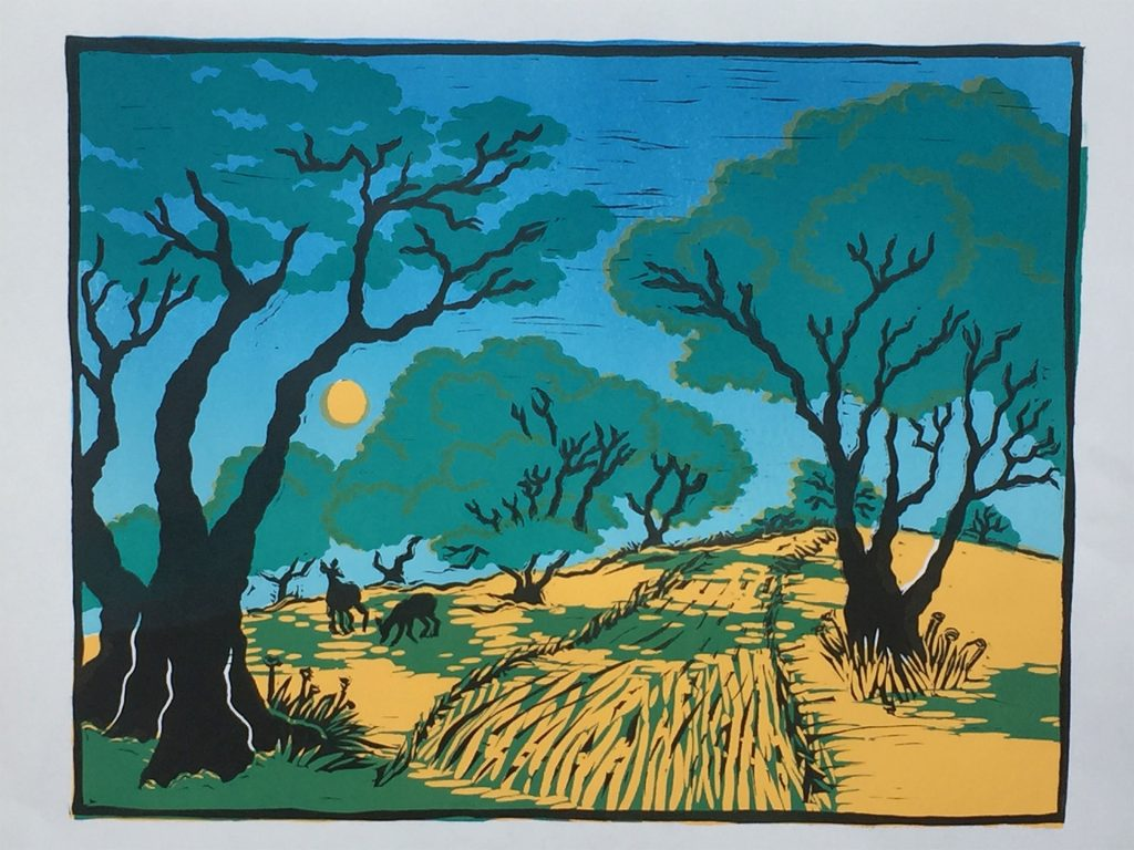 "Olive Grove - 5 color linocut  13""x10"""
