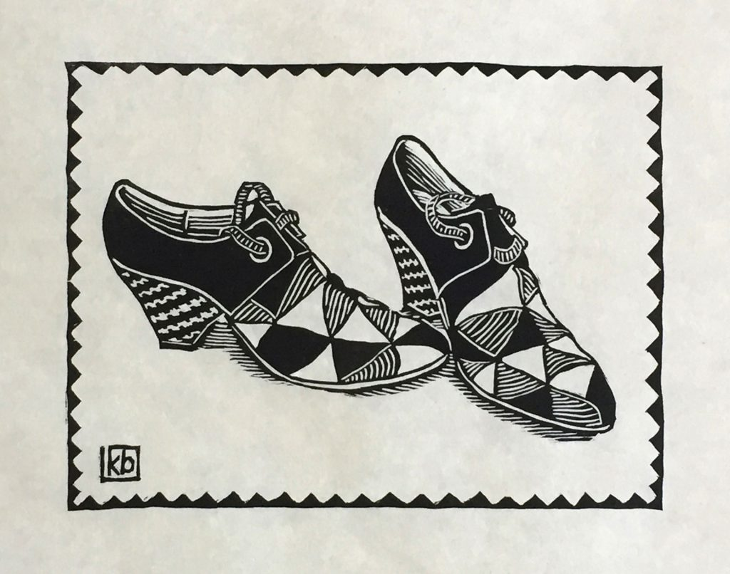 "Vanessa's Shoes - woodcut 8""x6"""