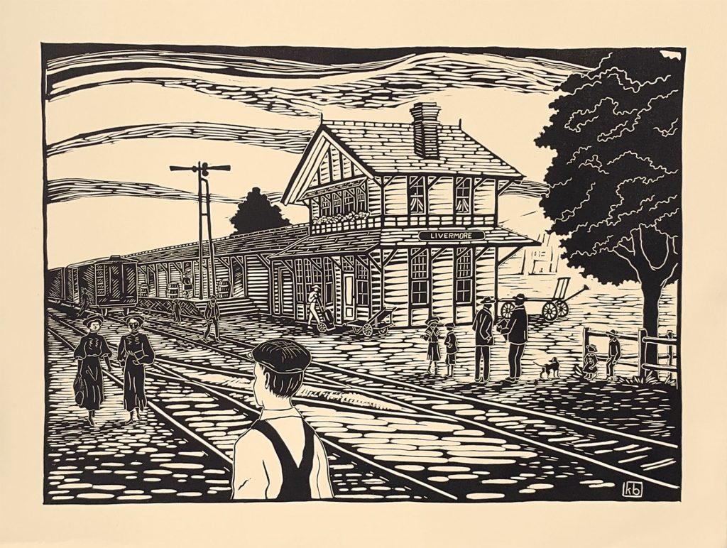 "Waiting For the Train - linocut 19"" x 13.5"""