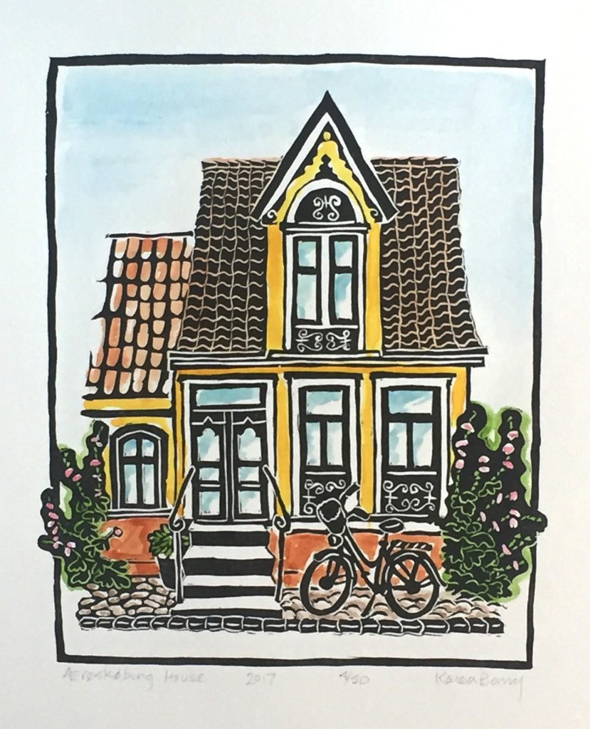"Aeroskobing House - linocut & watercolor 7""x9"""